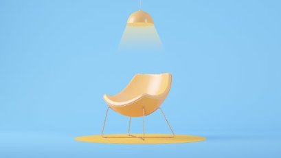 Three dimensional render of light fixture glowing over empty armchair