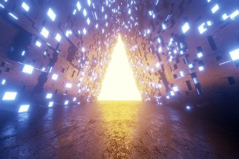 Three dimensional render of triangle shaped portal glowing at end of futuristic corridor