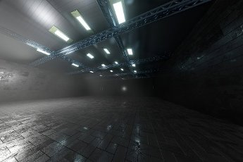 Three dimensional render of dark empty warehouse
