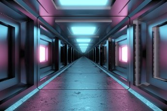 Three dimensional render of futuristic corridor inside spaceship or space station