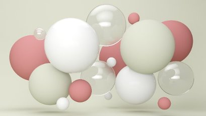 Three dimensional render of pastel colored bubbles floating against green background