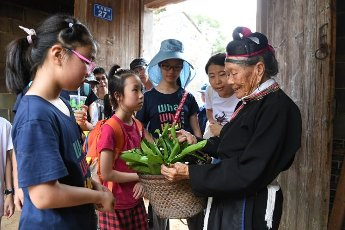 (200812) -- NINGDE, Aug. 12, 2020 (Xinhua) -- Zhong Lianjiao (1st R) introduces a kind of plant to tourists at Banyueli Village in Xiapu County, southeast China\'s Fujian Province, Aug. 5, 2020. It\'s common to see Zhong Lianjiao, an 89-year-old She ethnic group woman always in traditional She costumes, introduce the cultures of She ethnic group to tourists visiting the ancient Banyueli village. Living in the village for decades of years, Zhong has been making efforts to promote the village\'s tourism by introducing local cultures to tourists. Banyueli is a village where cultural relics and folk customs of She ethnic group are well preserved. (Xinhua\/Lin Shanchuan