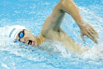 (201001) -- QINGDAO, Oct. 1, 2020 (Xinhua) -- Ji Xinjie of Shandong competes during the men\'s 800m freestyle final at the 2020 Chinese National Swimming Championships in Qingdao, east China\'s Shandong Province, Oct. 1, 2020. (Xinhua\/Chen Jianli